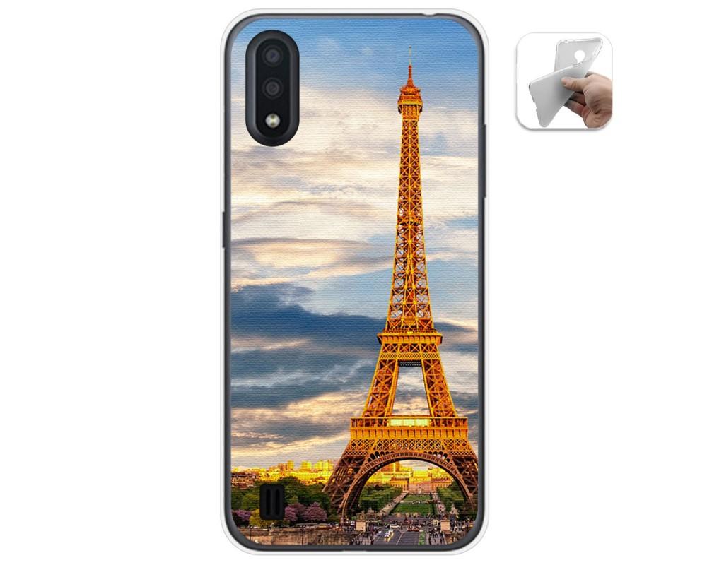 Funda Gel Tpu para Samsung Galaxy A01 diseño Paris Dibujos