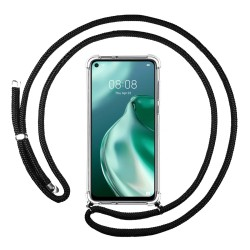 Funda Colgante Transparente para Huawei P40 Lite 5G con Cordon Negro