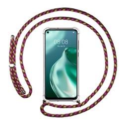 Funda Colgante Transparente para Huawei P40 Lite 5G con Cordon Rosa / Dorado