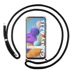 Funda Colgante Transparente para Samsung Galaxy A21s con Cordon Negro