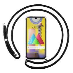 Funda Colgante Transparente para Samsung Galaxy M31 con Cordon Negro