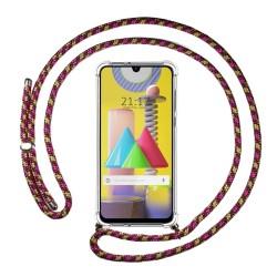 Funda Colgante Transparente para Samsung Galaxy M31 con Cordon Rosa / Dorado