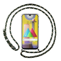 Funda Colgante Transparente para Samsung Galaxy M31 con Cordon Verde / Dorado