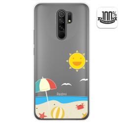 Funda Gel Transparente para Xiaomi Redmi 9 diseño Playa Dibujos