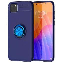 Funda Magnetica Soporte con Anillo Giratorio 360 para Huawei Y5p Azul