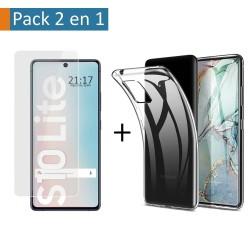 Pack 2 En 1 Funda Gel Transparente + Protector Cristal Templado para Samsung Galaxy S10 Lite