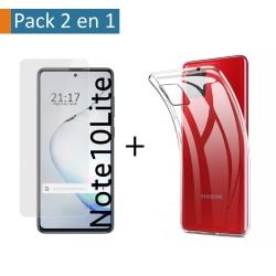 Pack 2 En 1 Funda Gel Transparente + Protector Cristal Templado para Samsung Galaxy Note 10 Lite