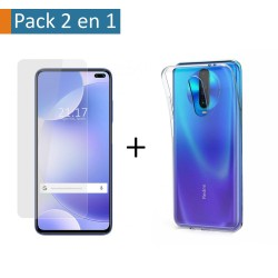 Pack 2 En 1 Funda Gel Transparente + Protector Cristal Templado para Xiaomi Pocophone POCO X2