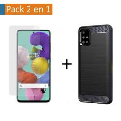 Pack 2 En 1 Funda Gel Tipo Carbono + Protector Cristal Templado para Samsung Galaxy A51