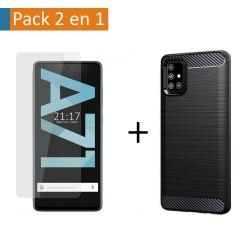 Pack 2 En 1 Funda Gel Tipo Carbono + Protector Cristal Templado para Samsung Galaxy A71