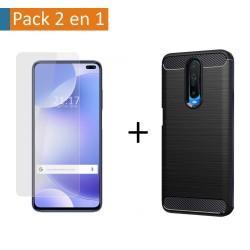 Pack 2 En 1 Funda Gel Tipo Carbono + Protector Cristal Templado para Xiaomi Pocophone POCO X2