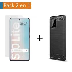 Pack 2 En 1 Funda Gel Tipo Carbono + Protector Cristal Templado para Samsung Galaxy S10 Lite