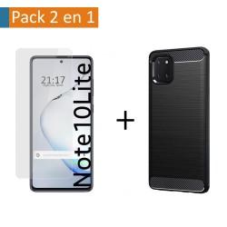 Pack 2 En 1 Funda Gel Tipo Carbono + Protector Cristal Templado para Samsung Galaxy Note 10 Lite