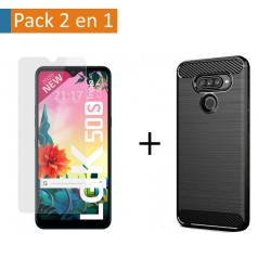 Pack 2 En 1 Funda Gel Tipo Carbono + Protector Cristal Templado para Lg K50S