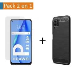 Pack 2 En 1 Funda Gel Tipo Carbono + Protector Cristal Templado para Huawei P40 Lite