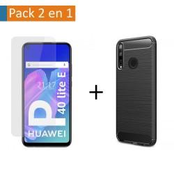 Pack 2 En 1 Funda Gel Tipo Carbono + Protector Cristal Templado para Huawei P40 Lite E