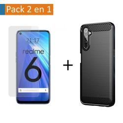 Pack 2 En 1 Funda Gel Tipo Carbono + Protector Cristal Templado para Realme 6