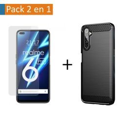 Pack 2 En 1 Funda Gel Tipo Carbono + Protector Cristal Templado para Realme 6 Pro