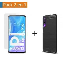 Pack 2 En 1 Funda Gel Tipo Carbono + Protector Cristal Templado para Huawei P Smart Pro