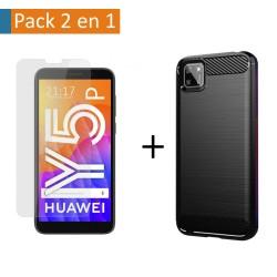 Pack 2 En 1 Funda Gel Tipo Carbono + Protector Cristal Templado para Huawei Y5p