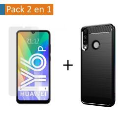 Pack 2 En 1 Funda Gel Tipo Carbono + Protector Cristal Templado para Huawei Y6p