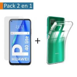 Pack 2 En 1 Funda Gel Transparente + Protector Cristal Templado para Huawei P40 Lite