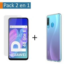 Pack 2 En 1 Funda Gel Transparente + Protector Cristal Templado para Huawei P40 Lite E