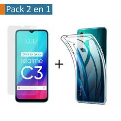 Pack 2 En 1 Funda Gel Transparente + Protector Cristal Templado para Realme C3