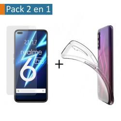 Pack 2 En 1 Funda Gel Transparente + Protector Cristal Templado para Realme 6 Pro