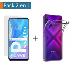 Pack 2 En 1 Funda Gel Transparente + Protector Cristal Templado para Huawei P Smart Pro