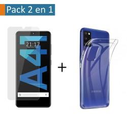 Pack 2 En 1 Funda Gel Transparente + Protector Cristal Templado para Samsung Galaxy A41