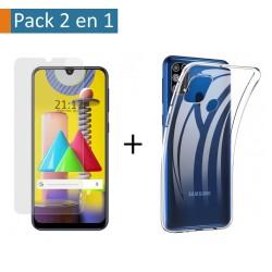 Pack 2 En 1 Funda Gel Transparente + Protector Cristal Templado para Samsung Galaxy M31
