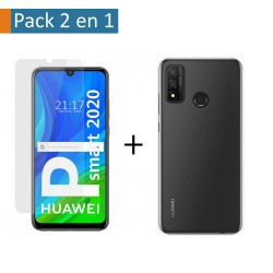 Pack 2 En 1 Funda Gel Transparente + Protector Cristal Templado para Huawei P Smart 2020