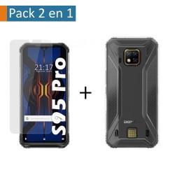 Pack 2 En 1 Funda Gel Transparente + Protector Cristal Templado para Doogee S95 Pro