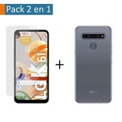 Pack 2 En 1 Funda Gel Transparente + Protector Cristal Templado para Lg K61