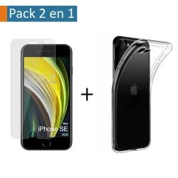 Pack 2 En 1 Funda Gel Transparente + Protector Cristal Templado para Iphone SE 2020