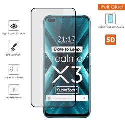 Protector Cristal Templado Completo 5D Full Glue Negro para Realme X3 SuperZoom Vidrio