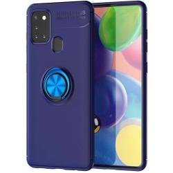 Funda Magnetica Soporte con Anillo Giratorio 360 para Samsung Galaxy A21s Azul