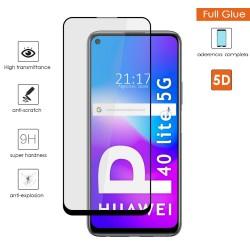 Protector Cristal Templado Completo 5D Full Glue Negro para Huawei P40 Lite 5G Vidrio