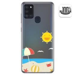 Funda Gel Transparente para Samsung Galaxy A21s diseño Playa Dibujos