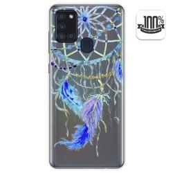 Funda Gel Transparente para Samsung Galaxy A21s diseño Plumas Dibujos