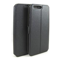 Funda Soporte Piel Negra para Huawei P10 Flip Libro