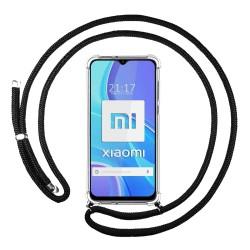 Funda Colgante Transparente para Xiaomi Redmi 9 con Cordon Negro