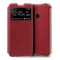 Funda Libro Soporte con Ventana para Alcatel 1SE 2020 color Roja