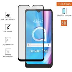Protector Cristal Templado Completo 5D Full Glue Negro para Alcatel 1SE 2020 Vidrio