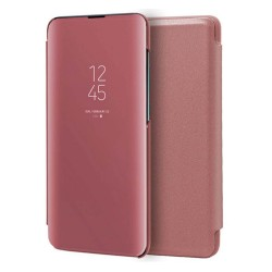 Funda Flip Cover Clear View para Xiaomi Redmi Note 9 color Rosa