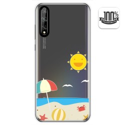 Funda Gel Transparente para Huawei P Smart S / Y8p diseño Playa Dibujos