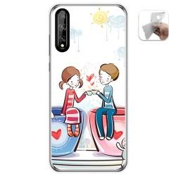 Funda Gel Tpu para Huawei P Smart S / Y8p diseño Café Dibujos