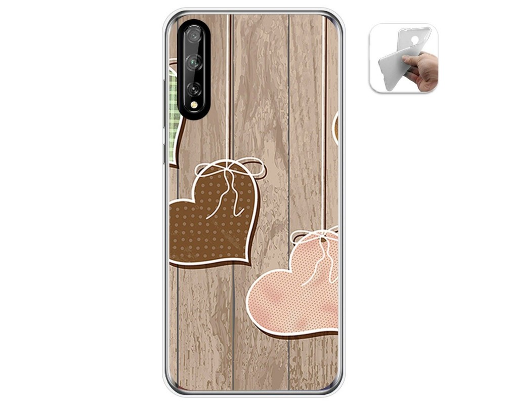 Funda Gel Tpu para Huawei P Smart S / Y8p diseño Corazones Madera Dibujos