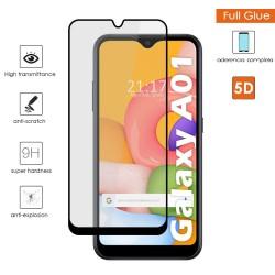 Protector Cristal Templado Completo 5D Full Glue Negro para Samsung Galaxy A01